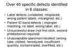 over 40 specific defects identified in 6 classes