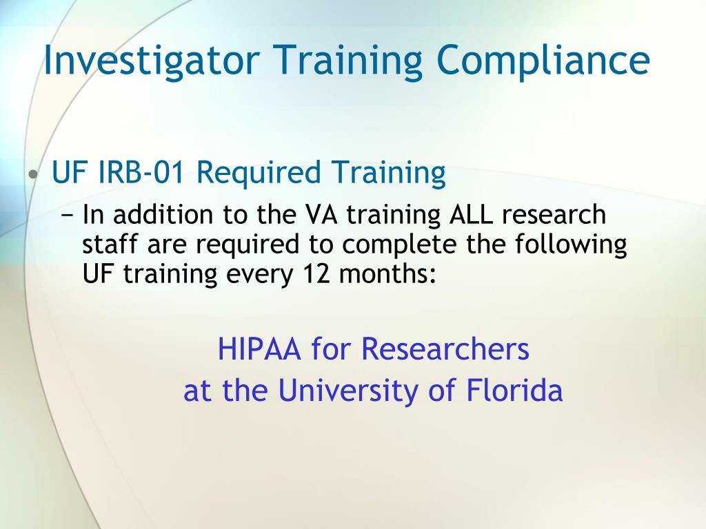 Investigator Training Compliance