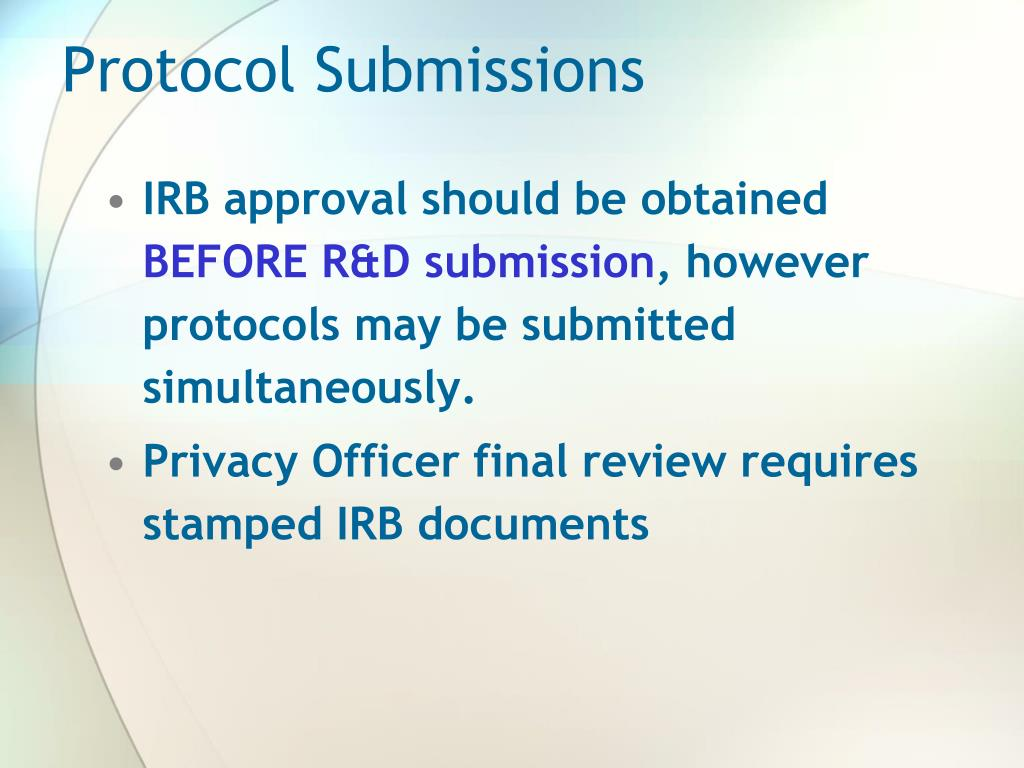 Protocol Submissions
