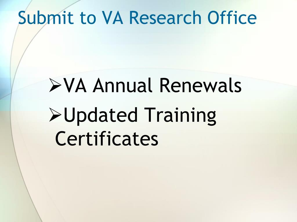Submit to VA Research Office