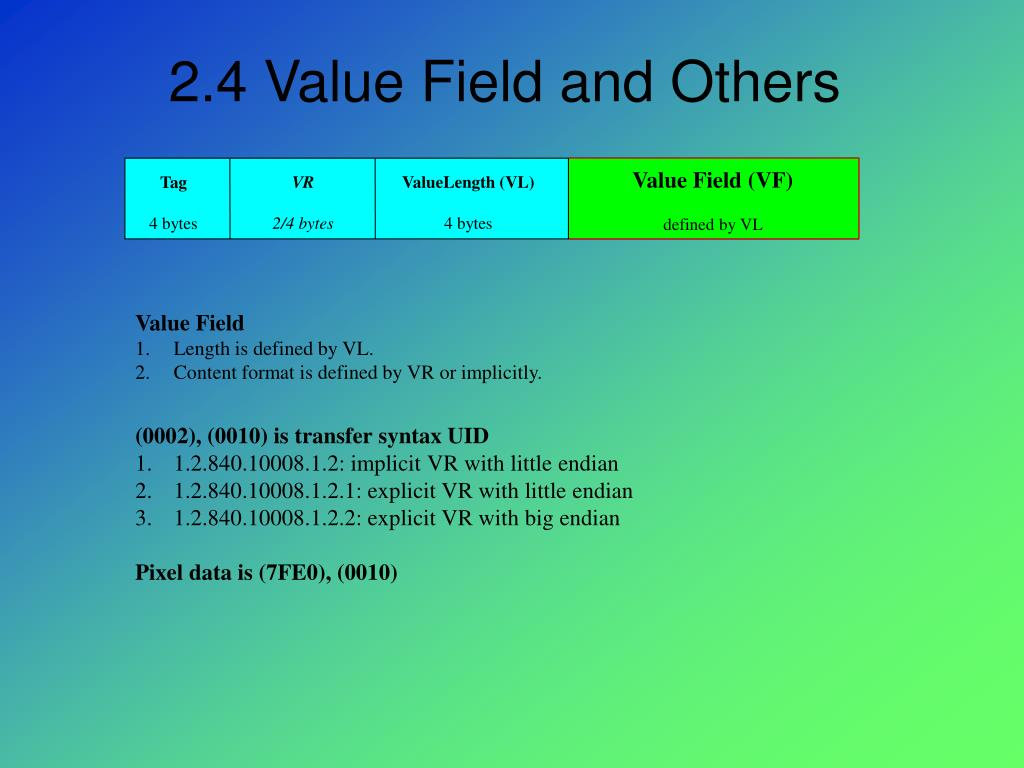 2.4 Value Field and Others