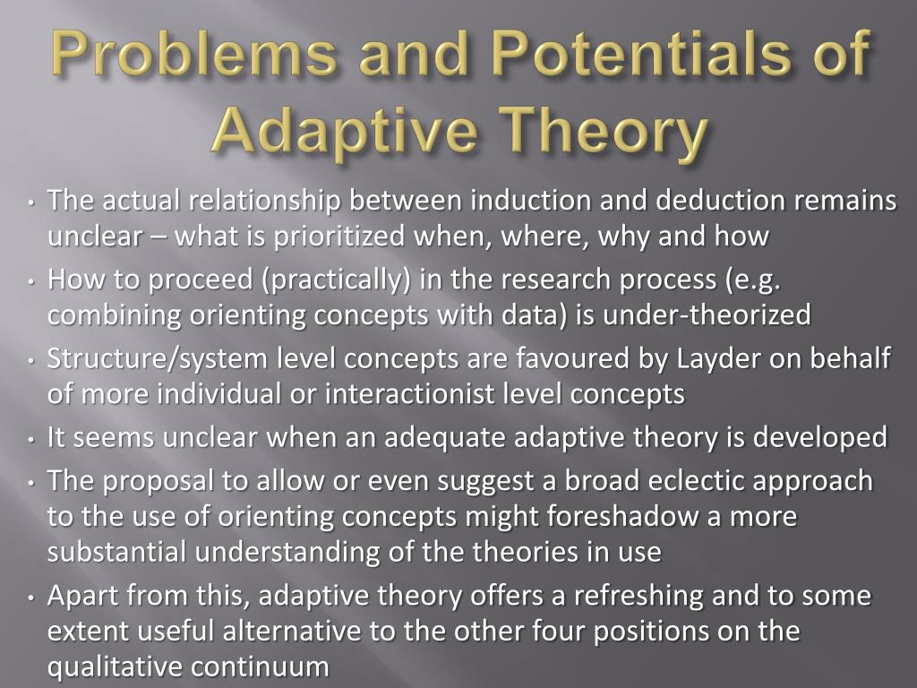 Problems and Potentials of Adaptive Theory