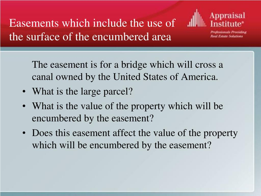 Easements which include the use of the surface of the encumbered area