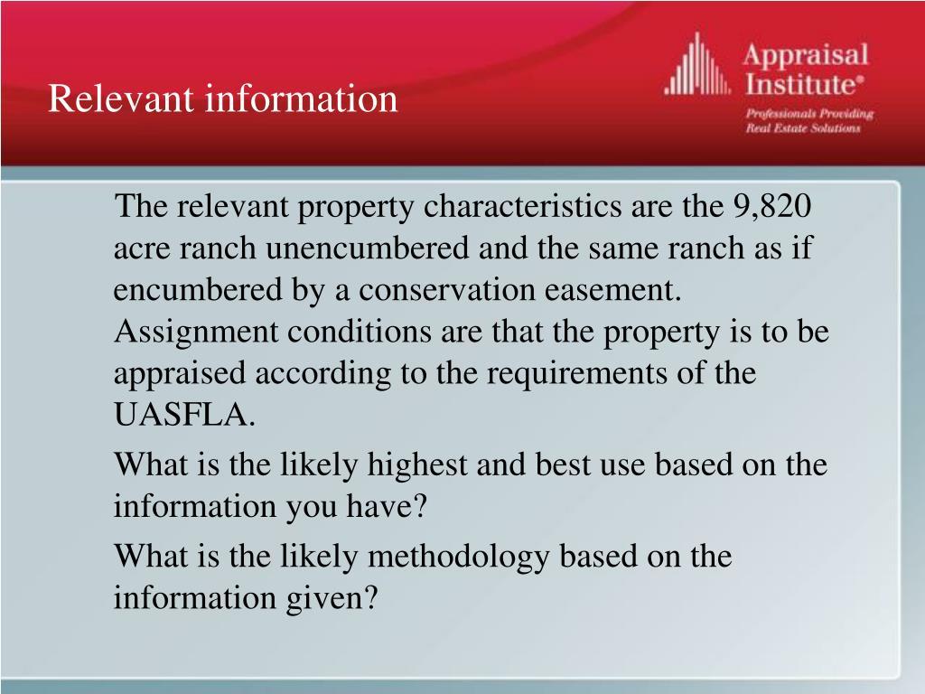 Relevant information