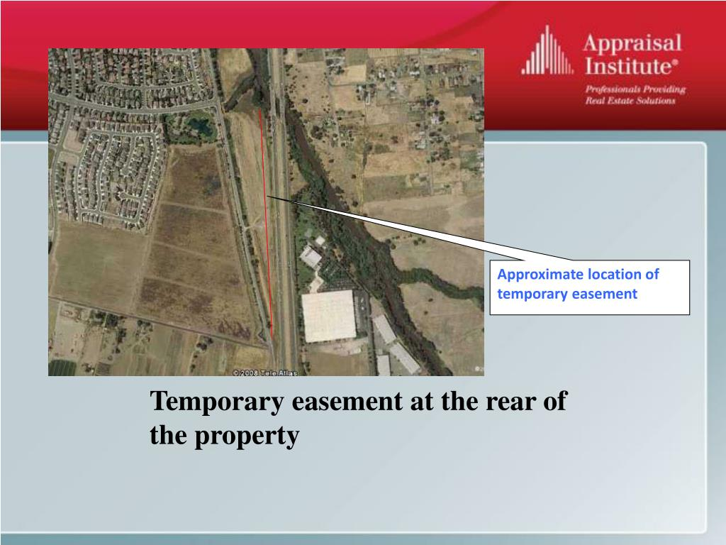 Approximate location of temporary easement