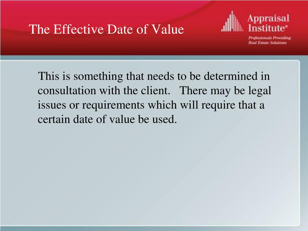 The Effective Date of Value