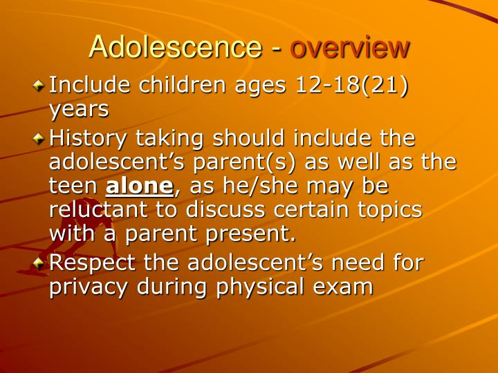 Adolescence overview