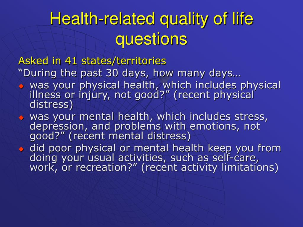 Health-related quality of life questions