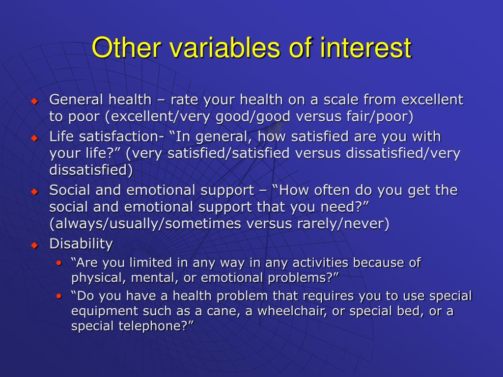Other variables of interest
