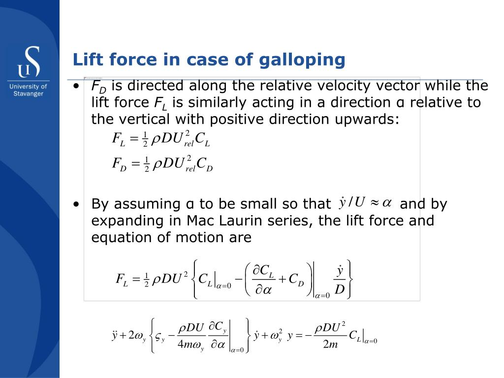 Lift force in case of galloping