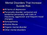 mental disorders that increase suicide risk