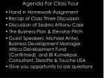 agenda for class four