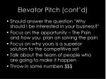 elevator pitch cont d