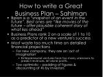 how to write a great business plan sahlman