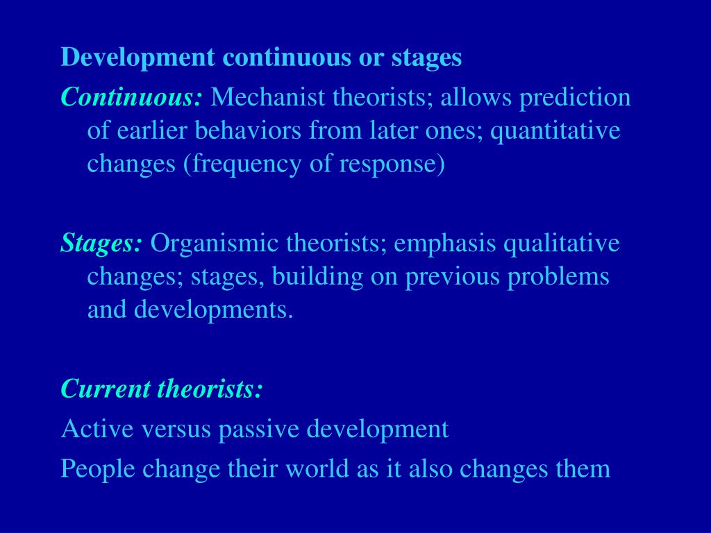 Development continuous or stages