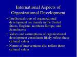 international aspects of organizational development