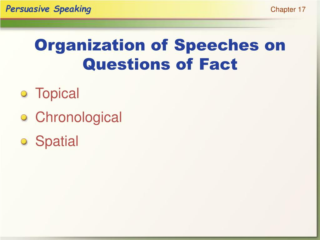 Organization of Speeches on Questions of Fact