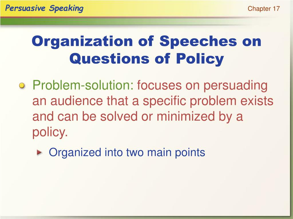 Organization of Speeches on Questions of Policy