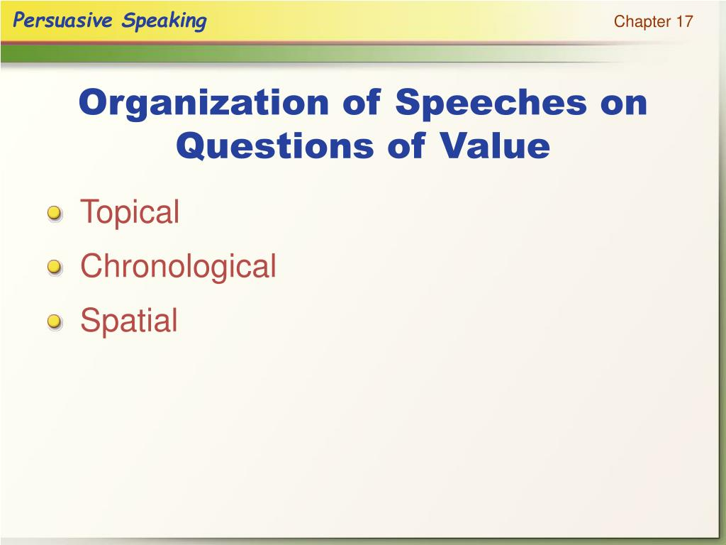 Organization of Speeches on Questions of Value