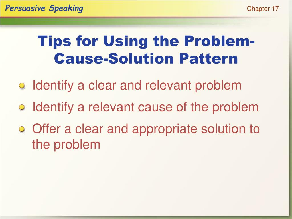 Tips for Using the Problem-Cause-Solution Pattern