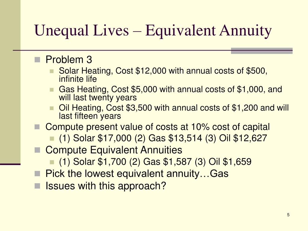 Unequal Lives – Equivalent Annuity