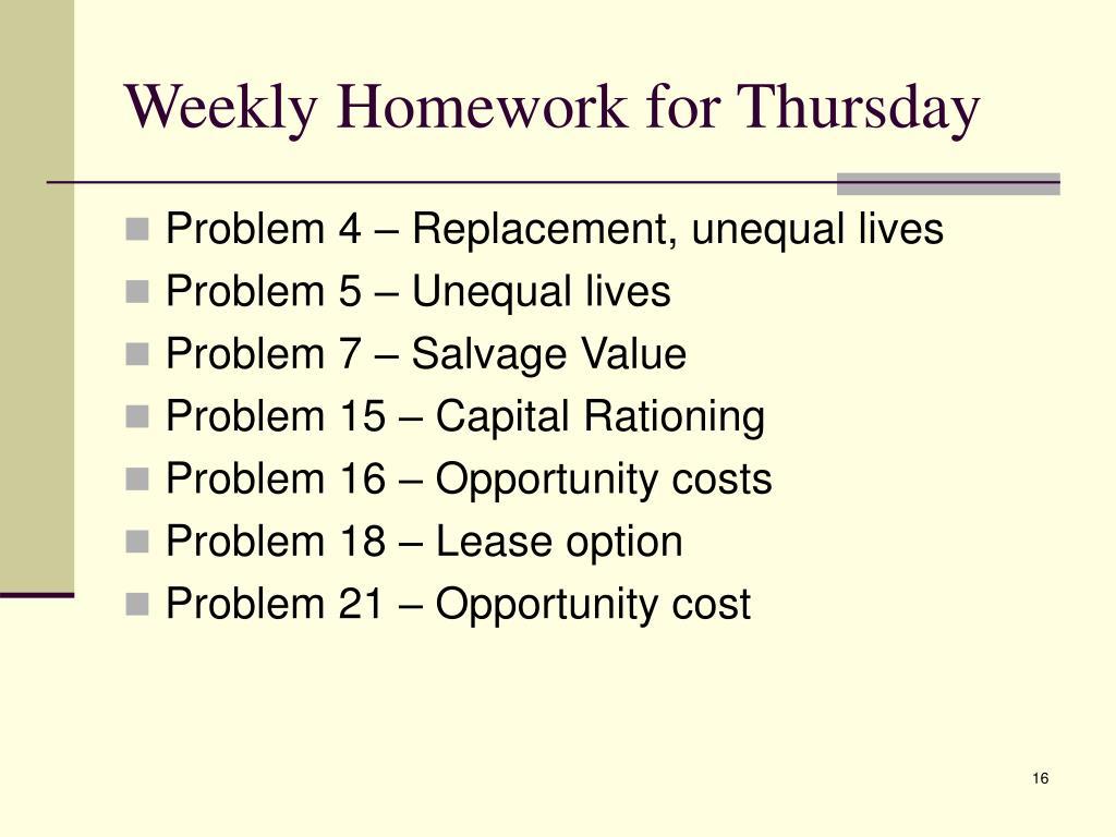 Weekly Homework for Thursday