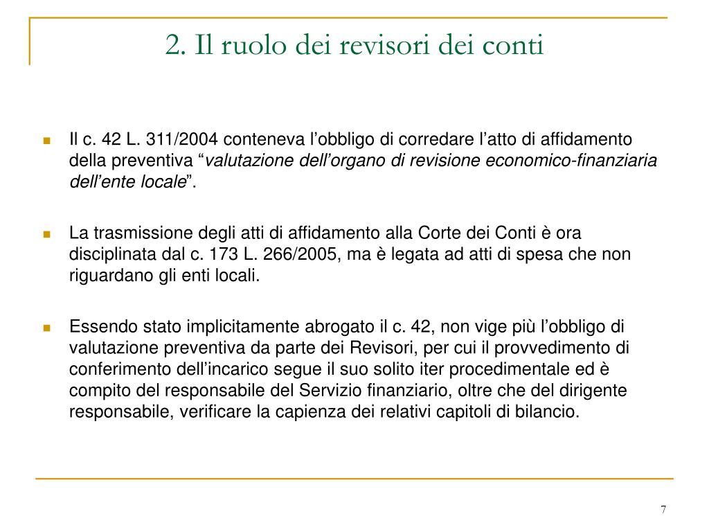 2. Il ruolo dei revisori dei conti