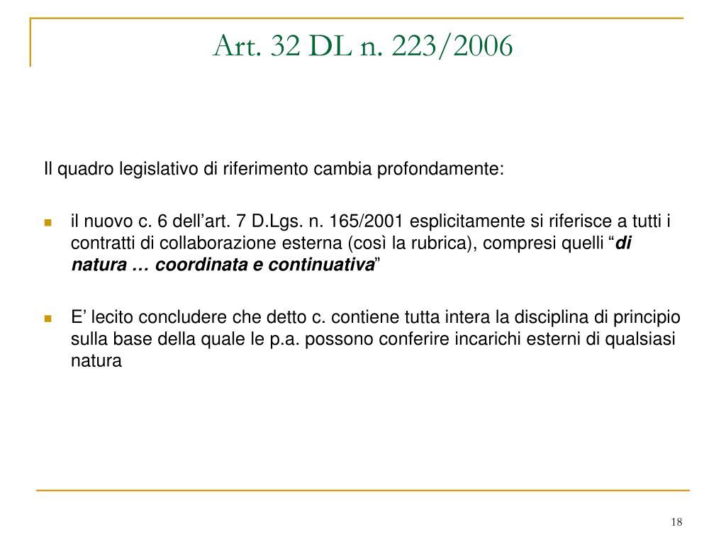 Art. 32 DL n. 223/2006