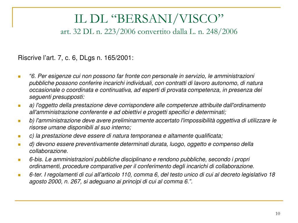 """IL DL """"BERSANI/VISCO"""""""