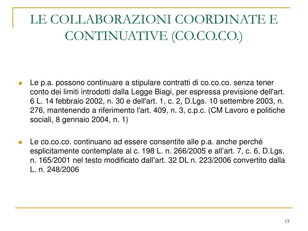 LE COLLABORAZIONI COORDINATE E CONTINUATIVE (CO.CO.CO.)