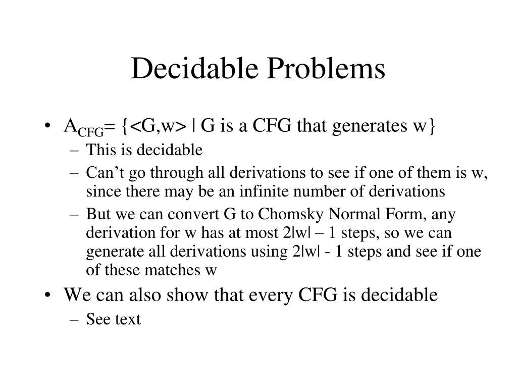 Decidable Problems