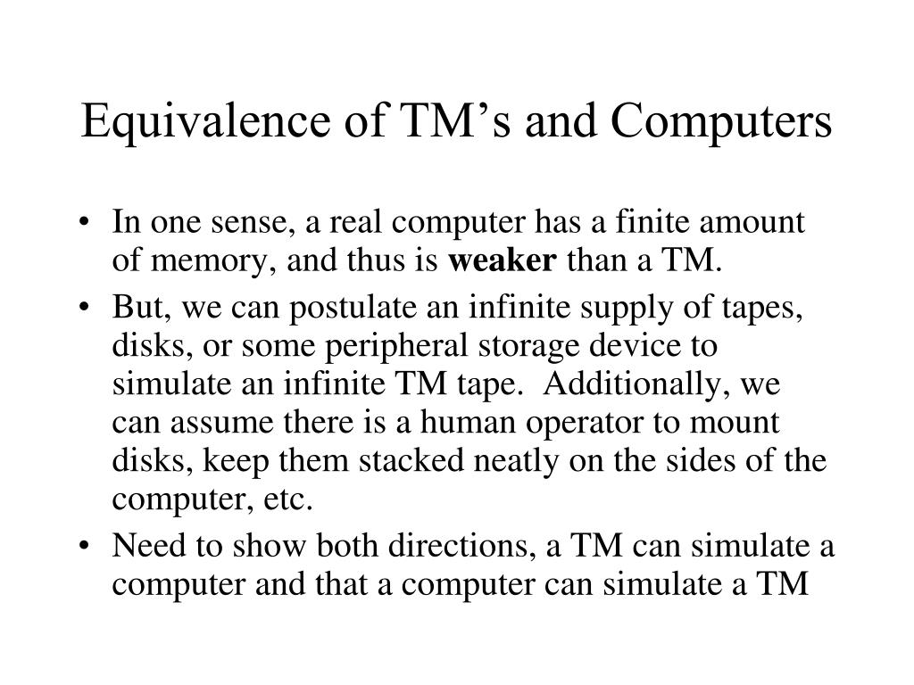 Equivalence of TM's and Computers