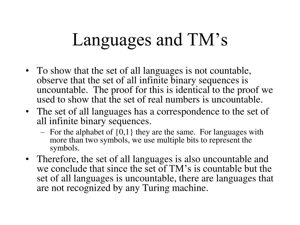 Languages and TM's