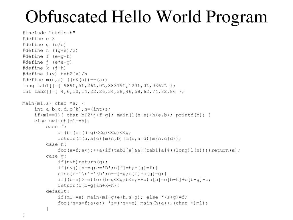 Obfuscated Hello World Program