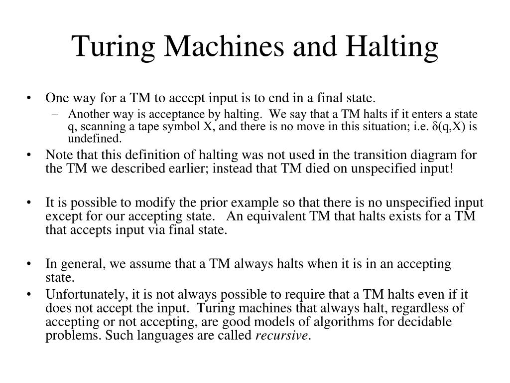Turing Machines and Halting