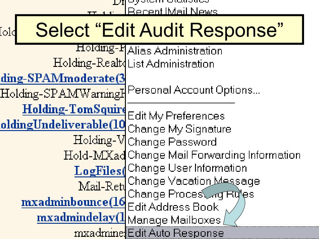 "Select ""Edit Audit Response"""