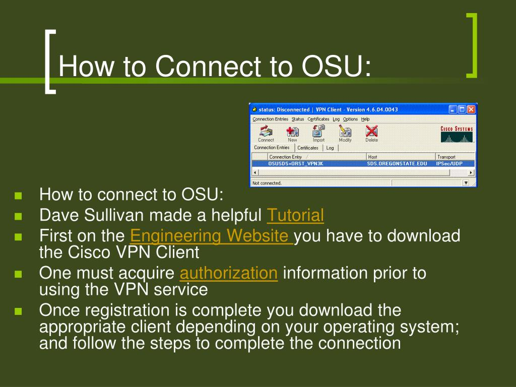 How to Connect to OSU: