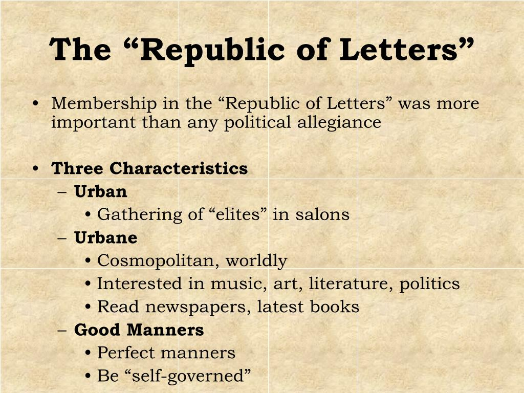 """The """"Republic of Letters"""""""