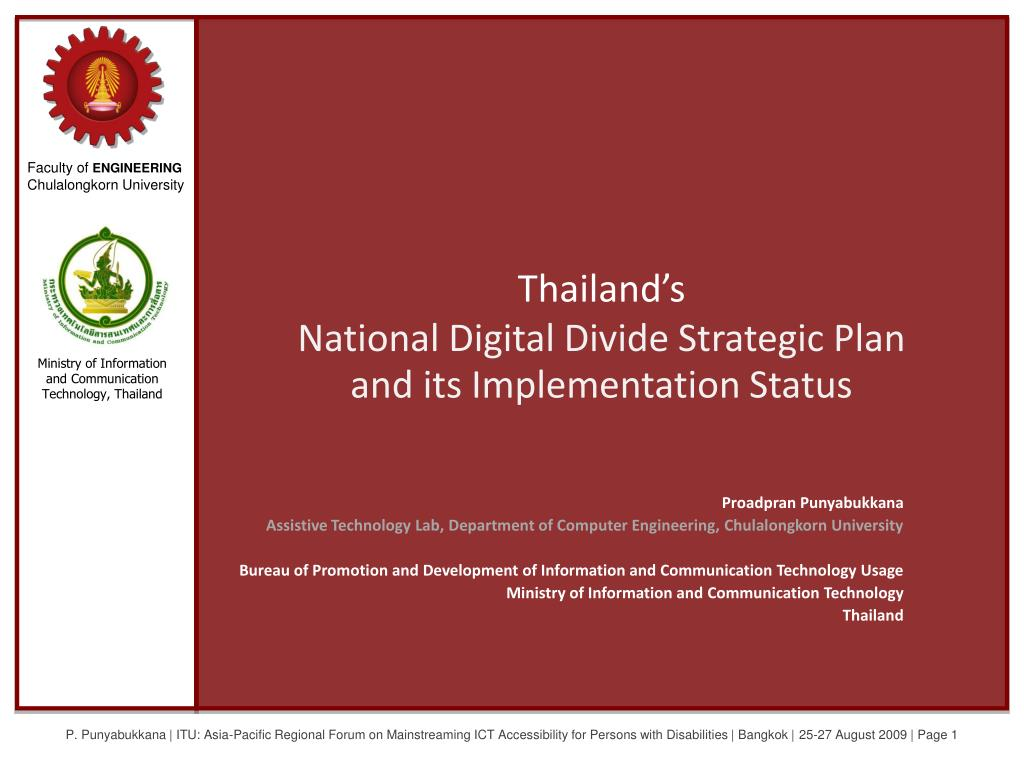 thailand s national digital divide strategic plan and its implementation status l.