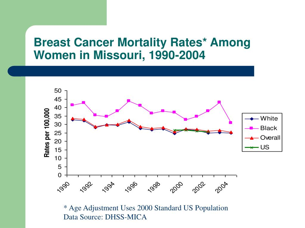 Breast Cancer Mortality Rates* Among Women in Missouri, 1990-2004