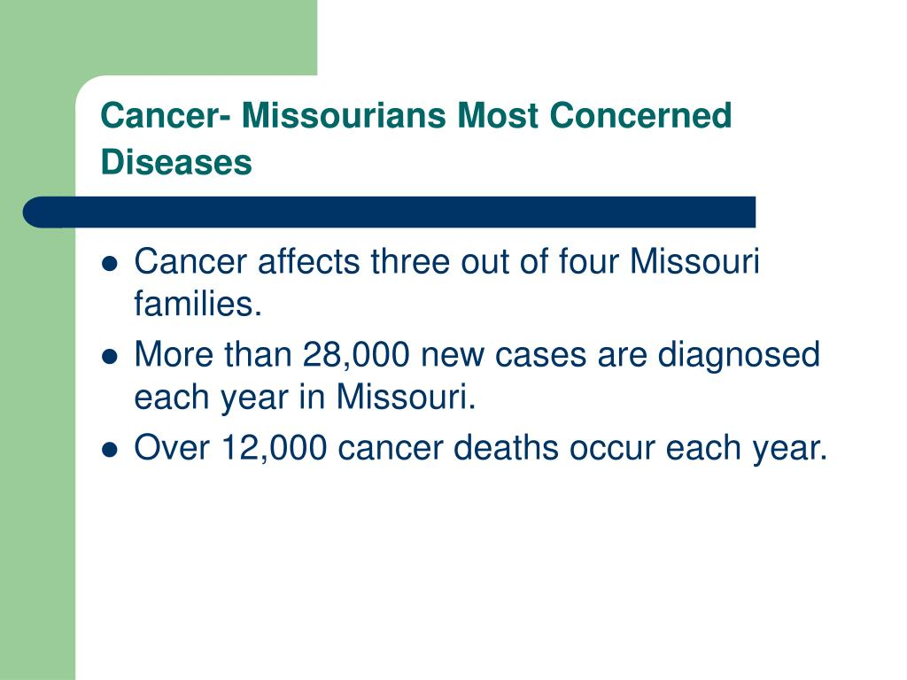 Cancer- Missourians Most Concerned Diseases