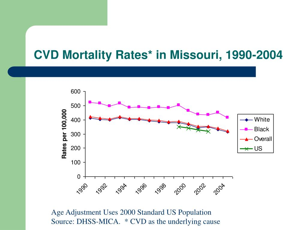 CVD Mortality Rates* in Missouri, 1990-2004