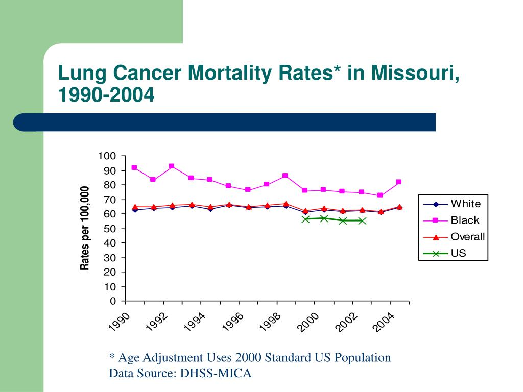 Lung Cancer Mortality Rates* in Missouri, 1990-2004