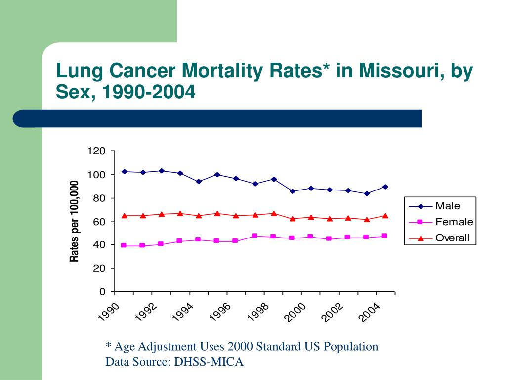 Lung Cancer Mortality Rates* in Missouri, by Sex, 1990-2004
