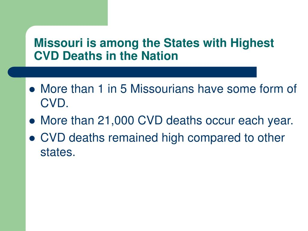 Missouri is among the States with Highest CVD Deaths in the Nation