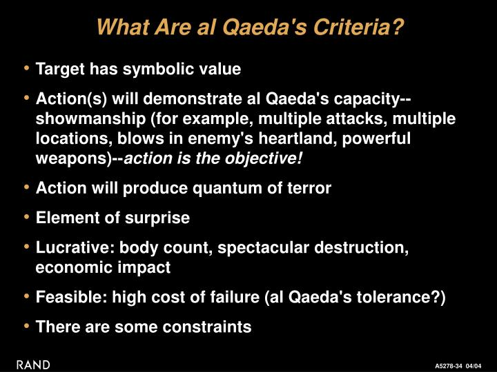 What Are al Qaeda's Criteria