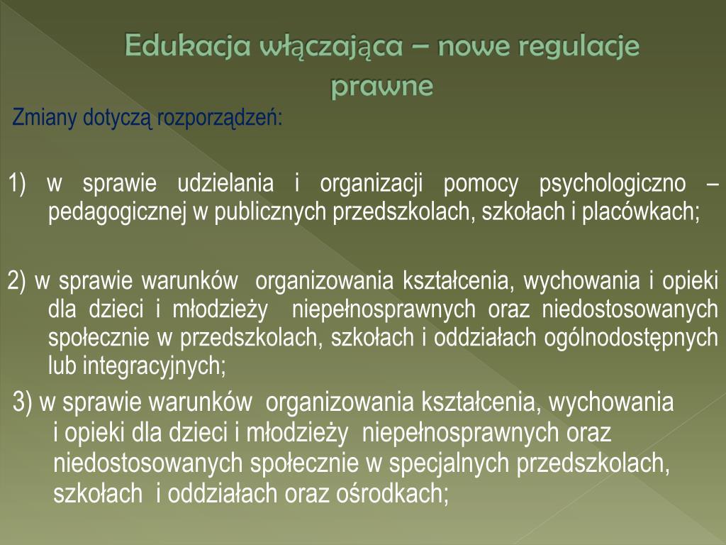 Edukacja włączająca – nowe regulacje prawne