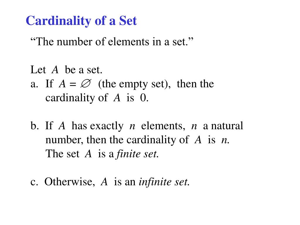 PPT - Cardinality of a Set PowerPoint Presentation - ID:560914