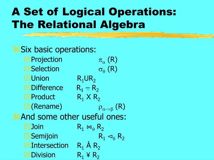 A set of logical operations the relational algebra