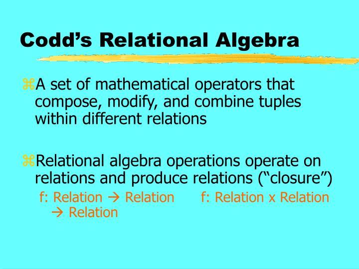 Codd s relational algebra